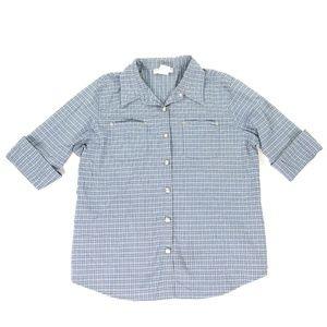 Victoria Jones 22W Blue Plaid Button Down Shirt